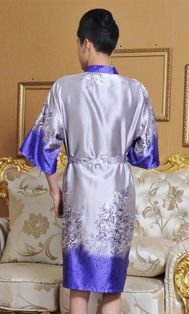 Panda Legends Pigiama Kimono di Seta da Uomo Viola retr/ò Robe Khan Vestiti al Vapore Accappatoi Domestici
