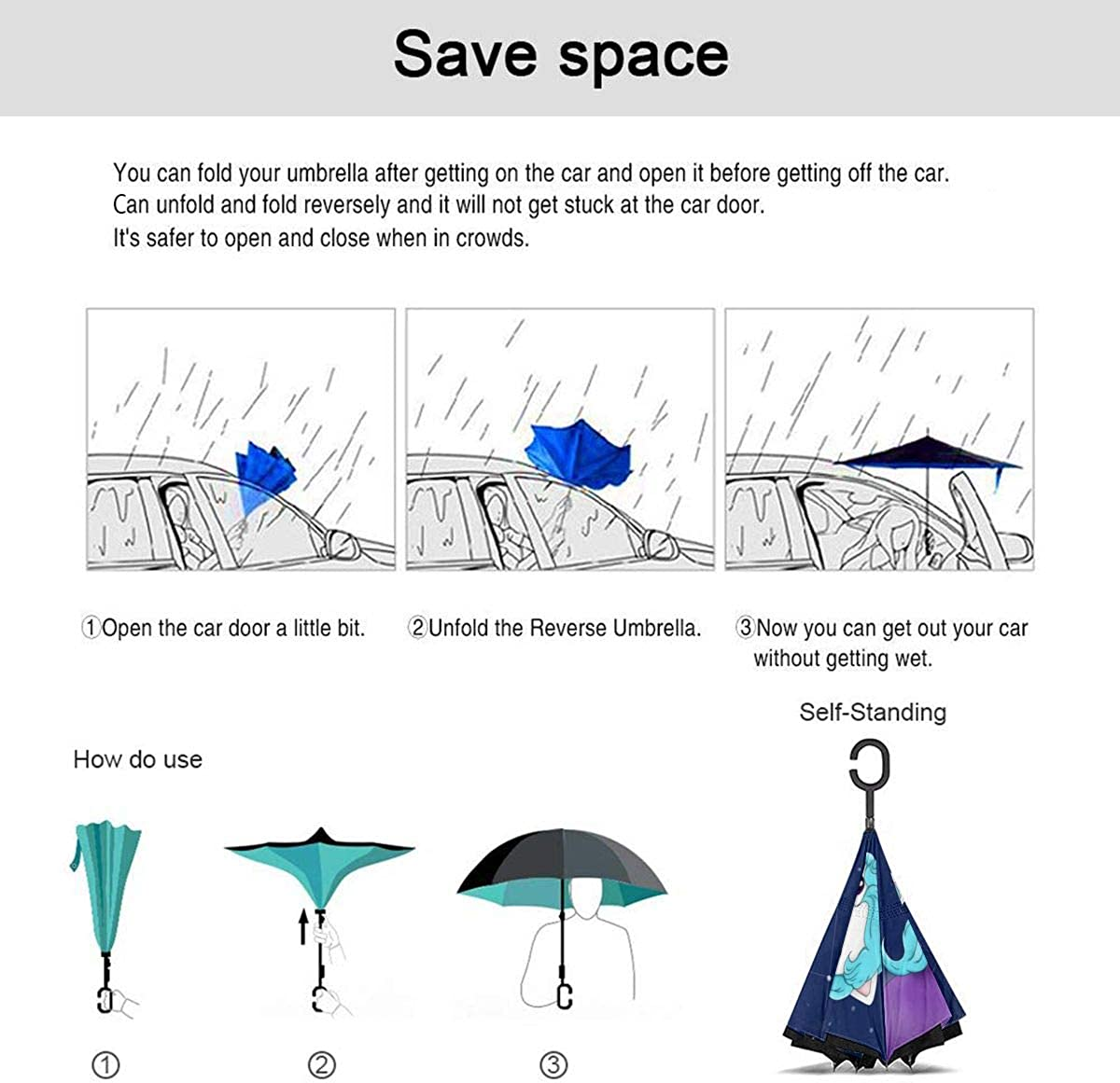 Reverse Umbrella Double Layer Inverted Umbrellas For Car Rain Outdoor With C-Shaped Handle Unicorn Galaxy Fantasy Star Cosmic Planet Cute Personalized