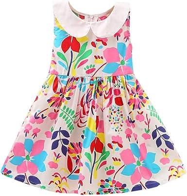 Girls Baby Kid Flower Dress Vest Beach Skirt Breathable Summer Princess Birthday