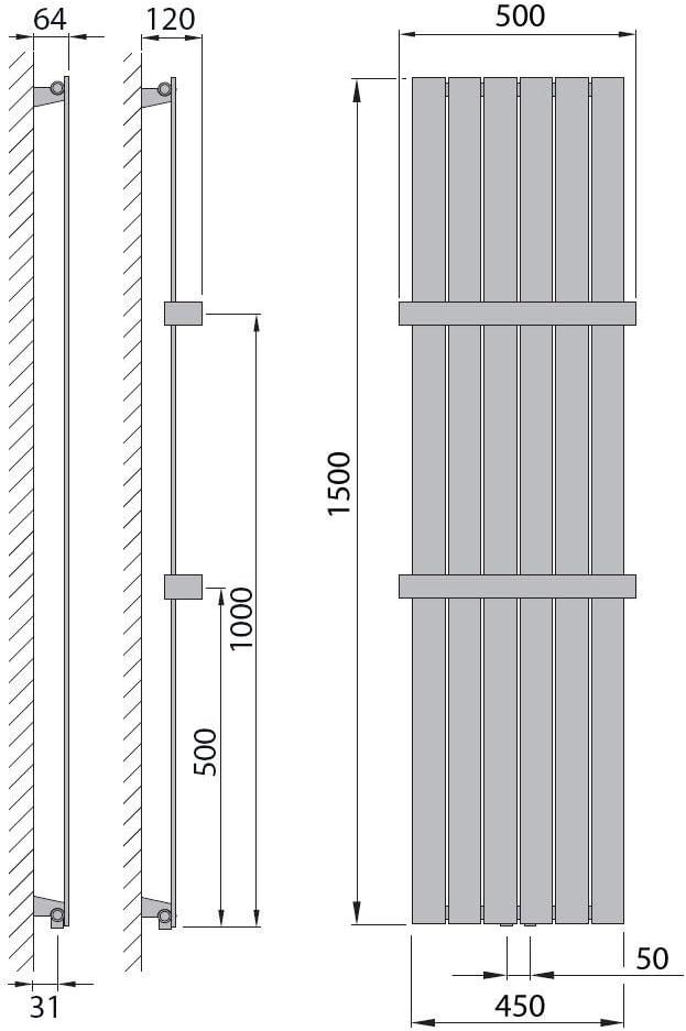 Design Paneelheizk/örper Heizk/örper Badheizk/örper mit Mittelanschluss Handtuchstange Edelstahl alle Gr/ö/ßen 741 Watt nach EN442