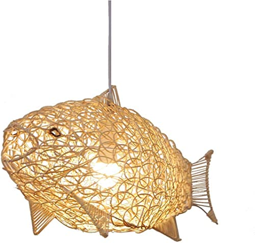 SkyTalent Fish-Shaped Lantern Pendant Lighting Rattan Light