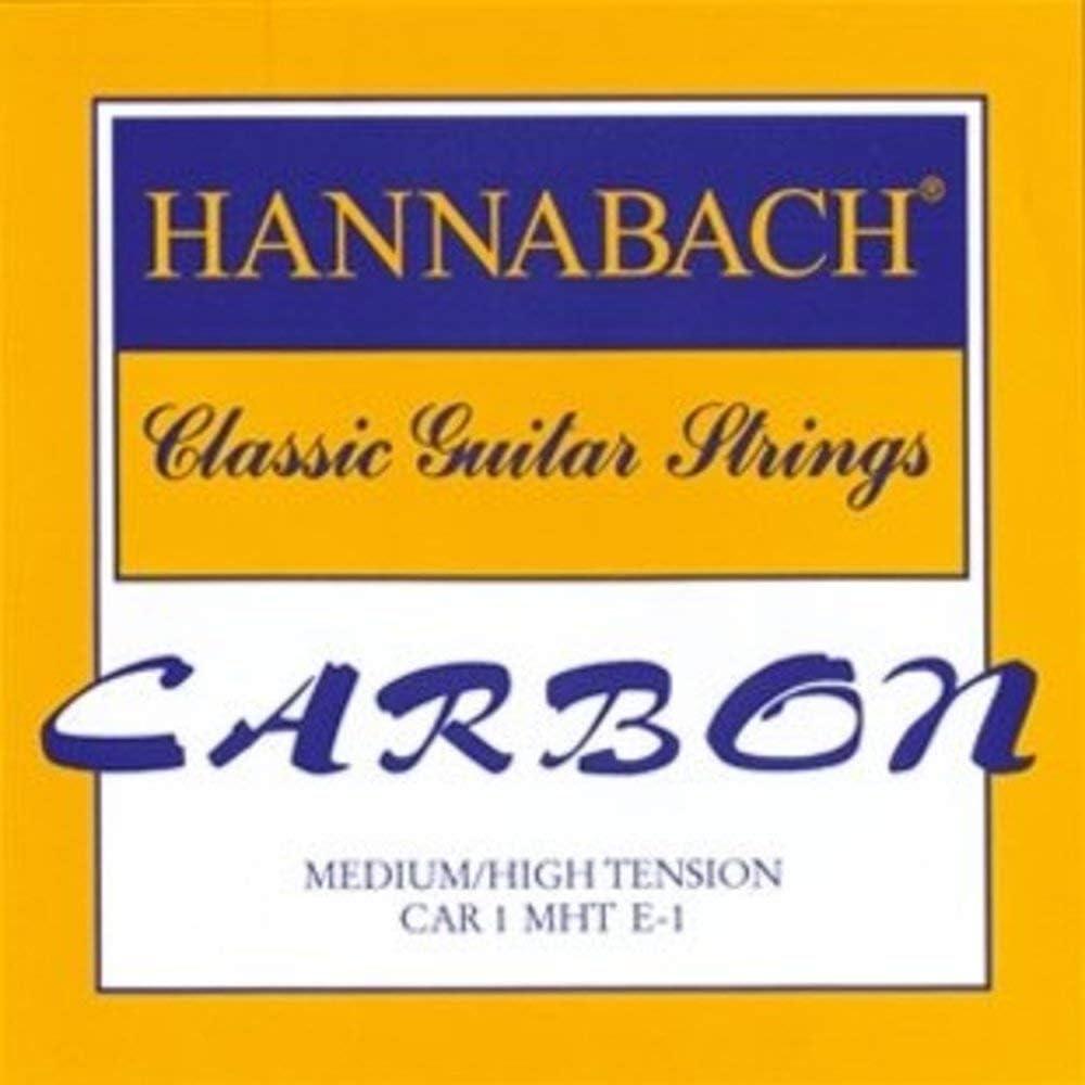 Hannabach Cuerdas Para Guitarra Clasica Carbono Tension Media/Alta - Juego Cuerdas Agudas Mi1+Si2+Sol3