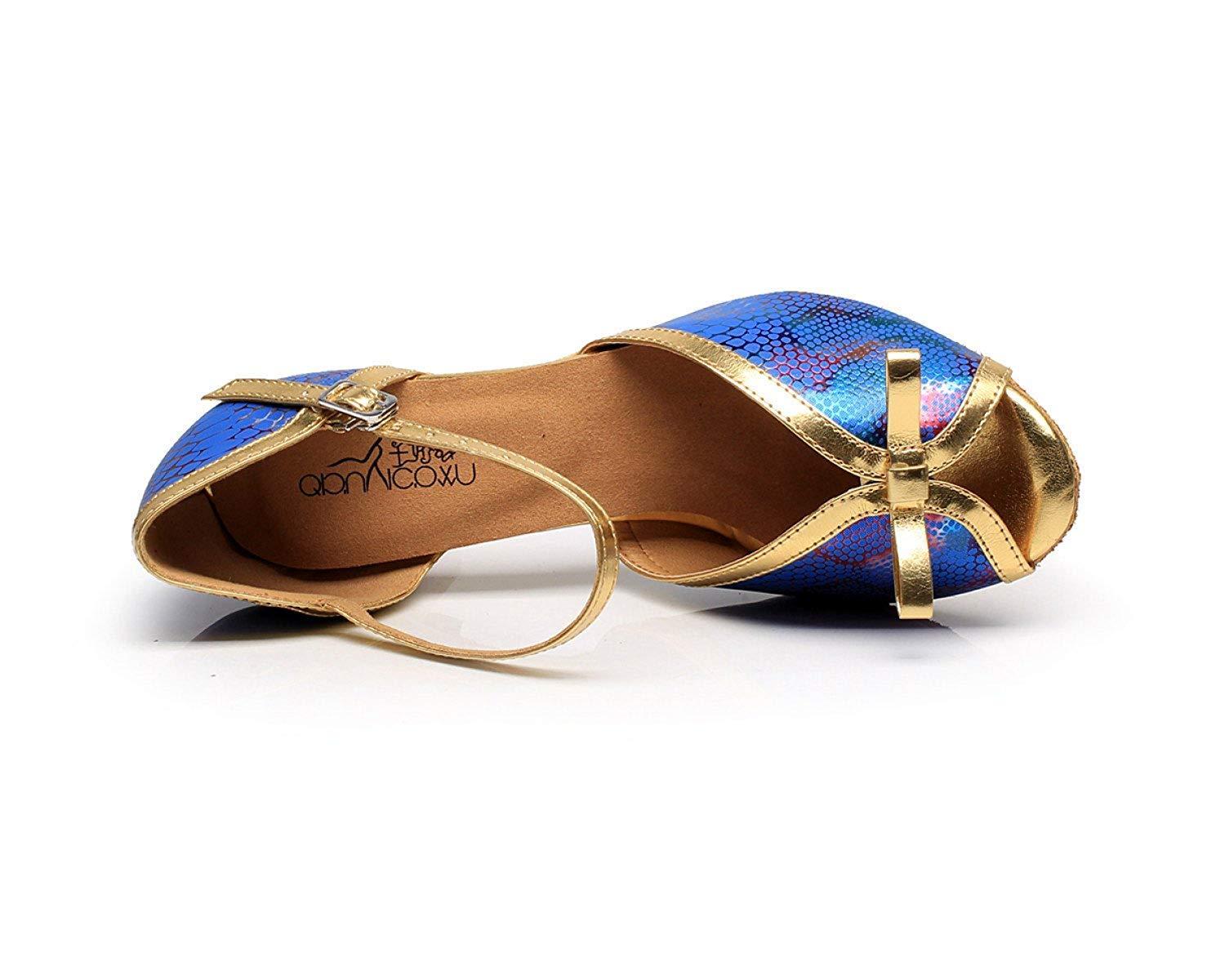 Lateinamerikanische Tanzschuhe für Damen Salsa Tango Chacha Samba Samba Samba Modern Jazz Schuhe Sandalen High Heels Blau-Absatz7.5cm-UK5.5   EU38   Our39 60f129