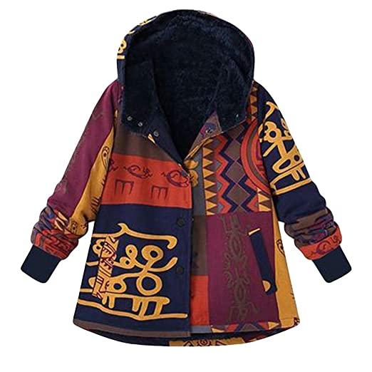 URIBAKE ❤ Womens Hooded Coat Winter Loose Cotton Warm Printed Pockets Button Thicker Hasp Outwear