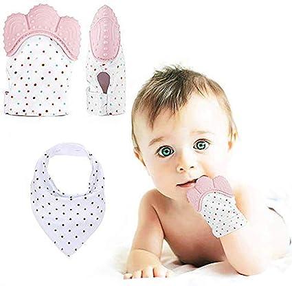 Newborn Infant Gift Relieve Baby Teether Gloves Anti-bite Silicone Mitten US