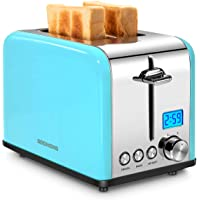 REDMOND Toaster 2 Slice, Stainless Steel Wide Slot Toaster with LCD Countdown Timer, Bagel, Defrost, Cancel Functions, 6-Shade Control, Blue, ST031