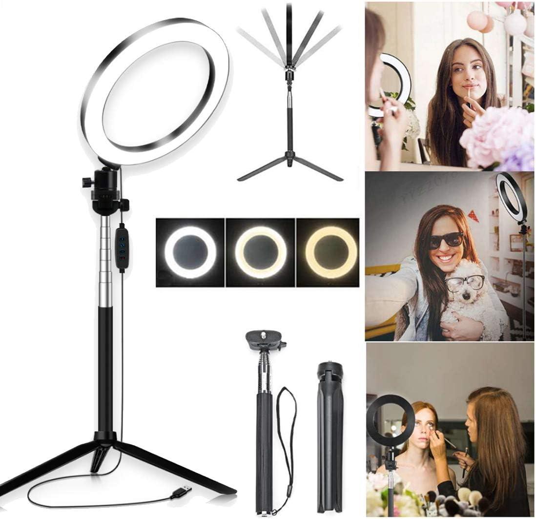 DLMPT LED Ring Make Up Light with Tripod Ringlight Make Up Light 10 Adjustable Brightness Ring Light Lighting Kit for Live Stream Makeup YouTube Selfie
