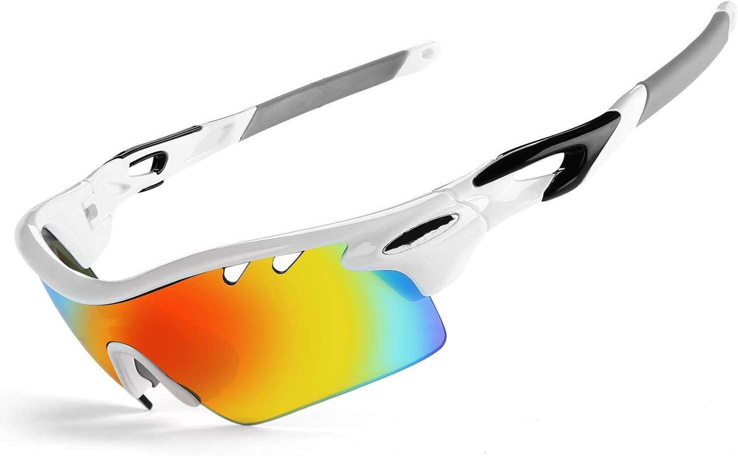 JOGVELO Gafas de Sol polarizadas Deportes, Gafas de Ciclismo para Hombre antivaho UV400 con 5 Lentes Intercambiables para Correr, Conducir, béisbol: Amazon.es: Deportes y aire libre