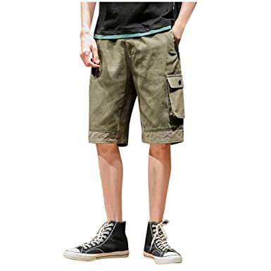17e81c7af1 Men Shorts Causal Beach Drawstring Slim Fit Lightweight Elastic Waist Summer  Short Overalls Pants with Pockets at Amazon Men's Clothing store: