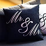 Mr. & Mr. Gay Wedding Pillow Cover w/ Cushion (white on black)