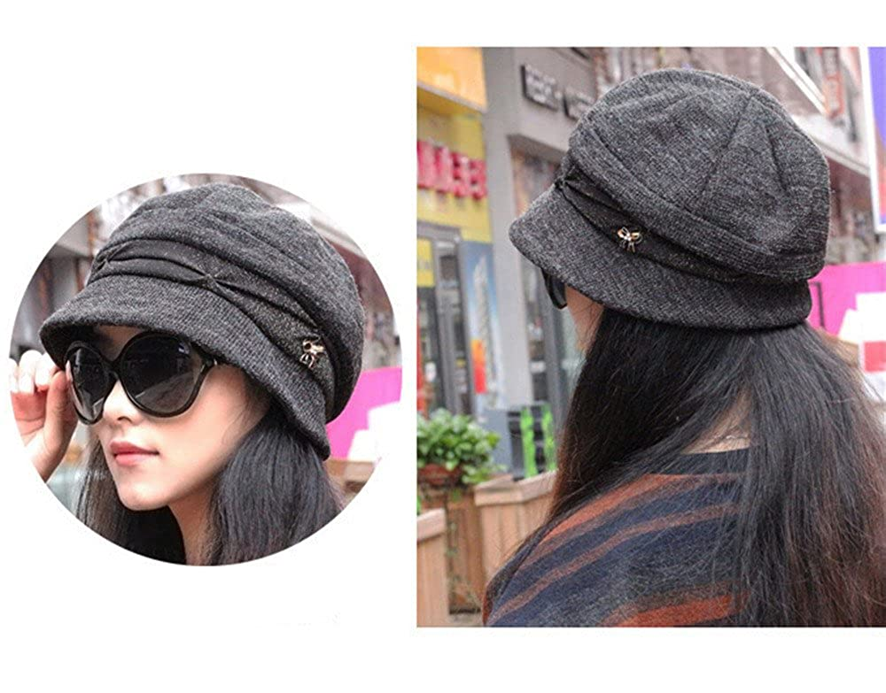 c1093ade381 doublebulls hats Knitted Cloche Hat Pleated Flapper Hat Womens Ladies  Winter Hat Short Brim Elegant Cap