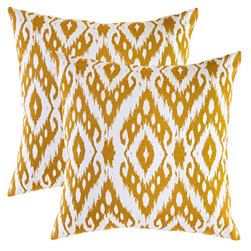 hrow Pillow Covers Ogee Ikat Diamond Accent in Cotton Canvas (16 x 16 Inches; Mustard) (16 Inch Accent Pillow)