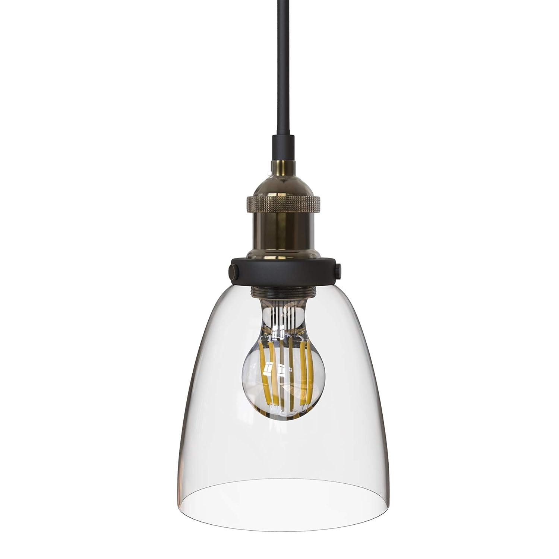 B.K.Licht Pendelleuchte 1-flammig Metall Glas Vintage Pendellampe Hängelampe IP20 BKL1097