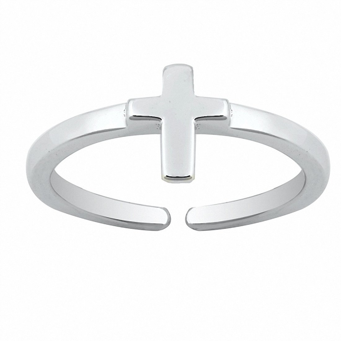 Blue Apple Co. Cross Toe Ring Band 925 Sterling Silver
