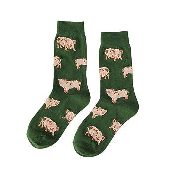 ZHANGJIANHUN Lindo Diseño Piggy/Pug Gracioso Calcetines Mujer Creativa 3 Pares,8