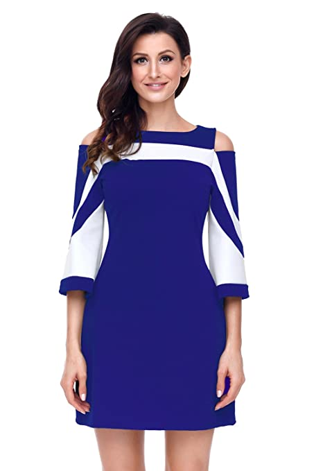 Ladies Royal azul y blanco bell Funda fría hombro vestido Club Wear vestido de fiesta tamaño