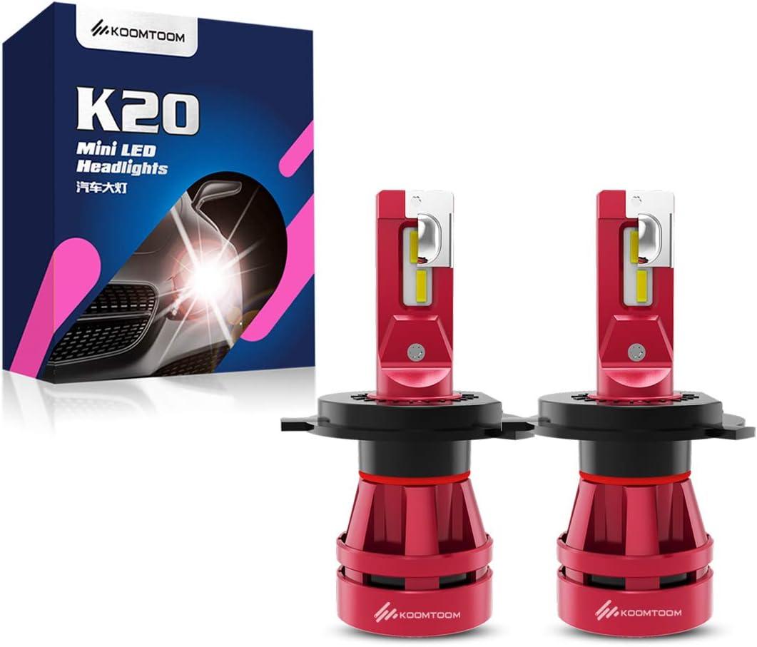 Hi Lo Beam Adjustable 360 Degree 400/% Brightness Headlight//DRL 6500K Xenon White 56W 12000LM 1Year Warranty KOOMTOOM Compact Design Mini 9005 LED Headlight Bulb Kit HB3