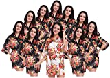 Women's Kimono Floral Robes for Bride and Bridesmaid Wedding Party Satin Robes Short
