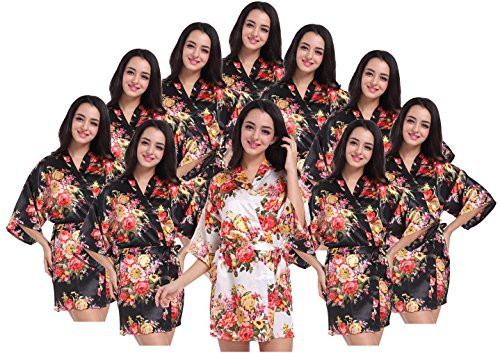 Women's Kimono Floral Robes for Bride and Bridesmaid Wedding Party Satin Robes Short by DF-deals