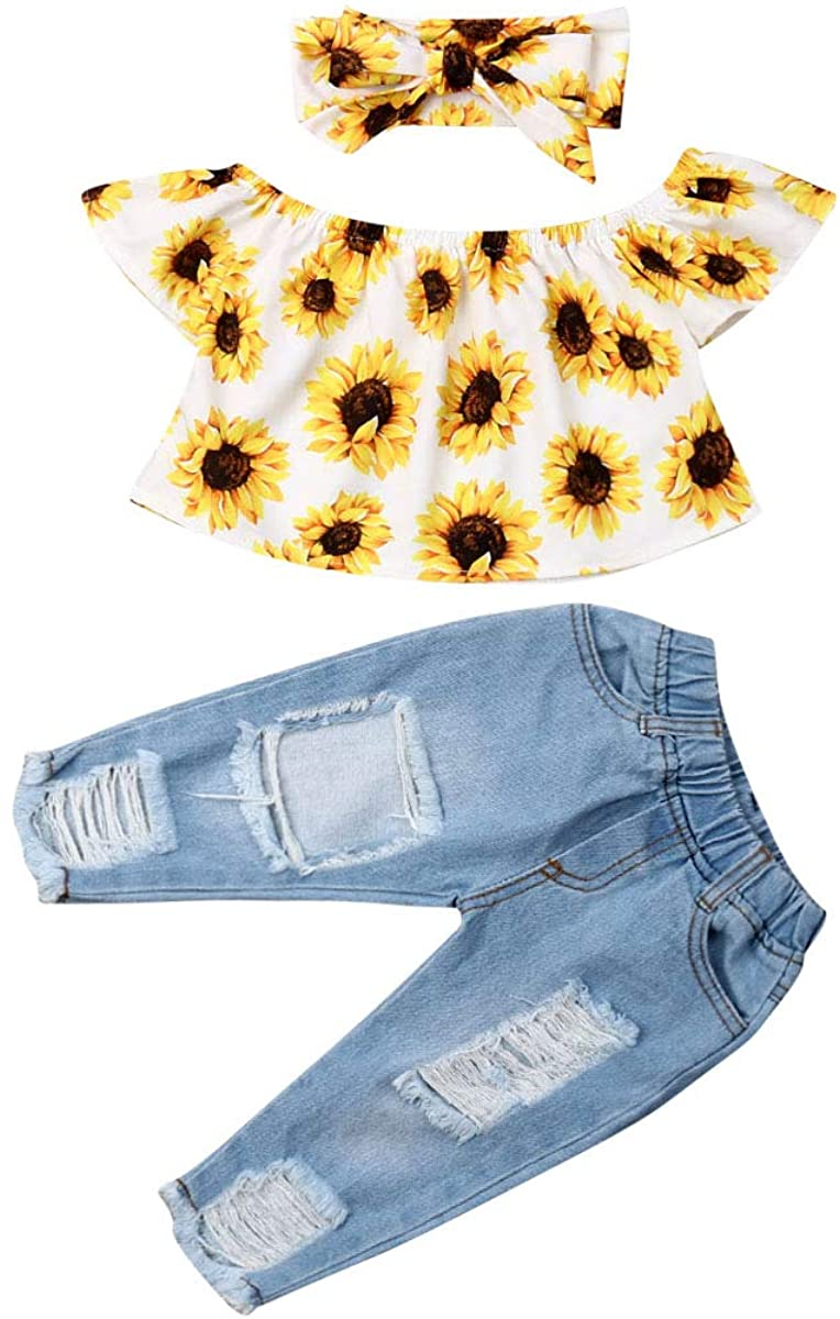 Toddler Baby Girl Outfits Set Off Shoulder Sunflower Top Long Jeans Trouser Headband 3 Pieces Clothing Set for Summer Autumn