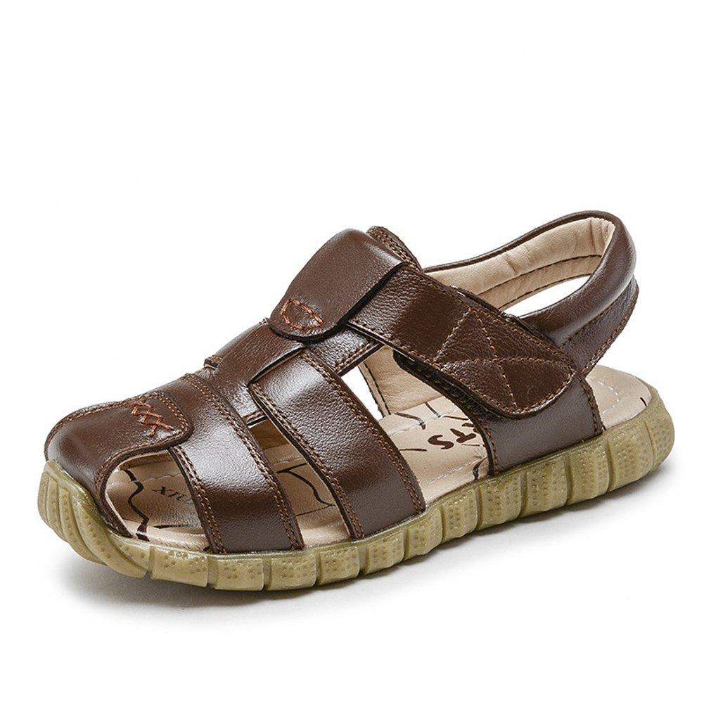 Baviue Leather Sport Summer Kids Sandles Hiking Sandals For Boys Brown 34 2 M US Little Kid