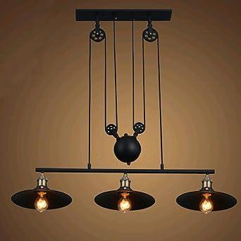 pulley pendant lighting. Pulley Industrial Ceiling Light, SUN RUN Vintage Creative Pendant Lighting Black Iron Painted 3 E