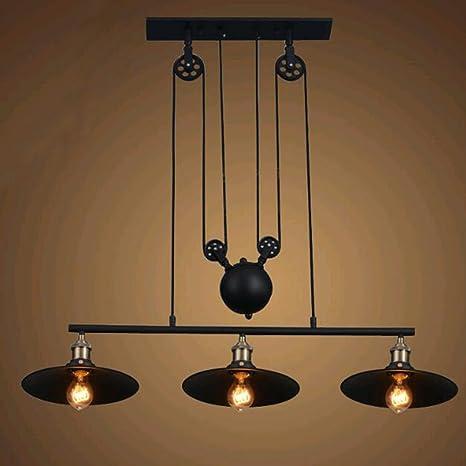 brass hanging light antique brass pulley industrial ceiling light sun run vintage creative pendant lighting black iron painted