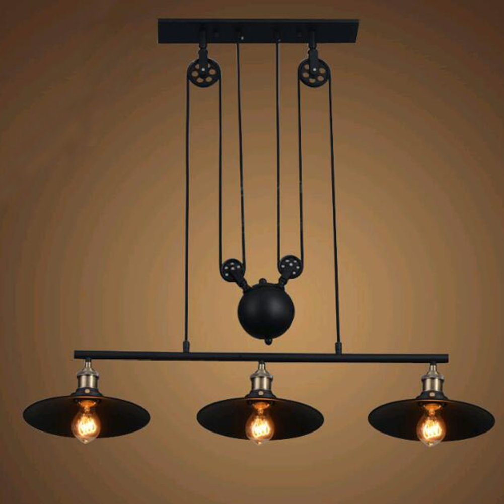 Pulley Industrial Ceiling Light, SUN RUN Vintage Creative Pulley Pendant Lighting Black Iron Painted 3-Lights Island Light Chandelier Bar Retro Hanging Lamp 3 Heads by SUN RUN