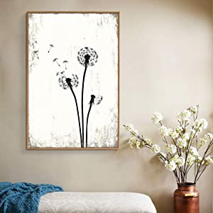 wall26 Framed Canvas Wall Art for Living Room, Bedroom Dandelion Illustration Canvas Prints for Home Decoration Ready to Hang - 16x24 inches