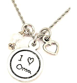 ChubbyChicoCharms I Love Oma Child Handwriting Stainless Steel Rope Chain Necklace with White Crystal Accent