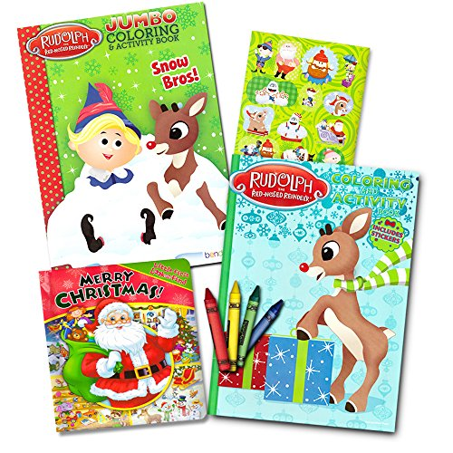 Rudolph The Red Nose Reindeer Jumbo Color Book and Crayons  New