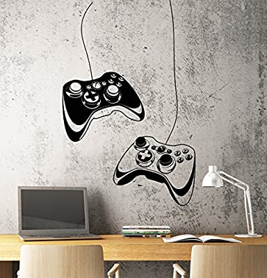 Wall Decal Gamer Joystick Vinyl Art Gaming Kids Room Large Decor z4909 (28 in X 43 in)