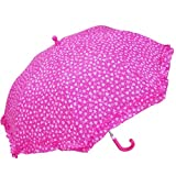 RainStoppers W104CHMHRT Girl's Multi-Heart Print Umbrella with Ruffle, 34-Inch
