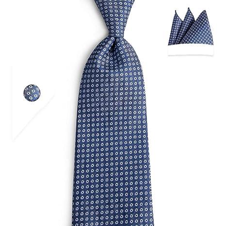 FDHFC Fashion Blue White Dots Corbatas para Hombre Gemelos ...