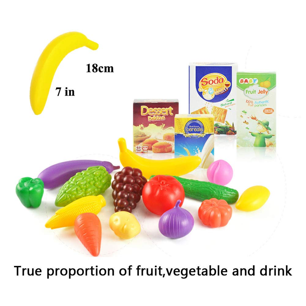 KISSKIDS 19 Large Plastic Shopping Cart with Accessories of Fruits Popular Pretend Toy for Children Drinks China Pink Vegetables