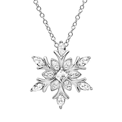 3e723c8b69 Amazon.com: Sterling Silver Snowflake Pendant-Necklace made with Swarovski  Crystals (Blue and White): Swavorski Blue Snowflake: Jewelry
