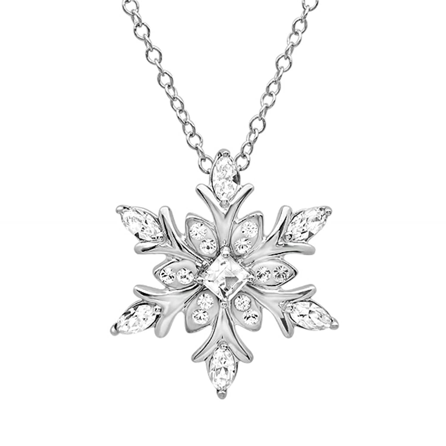 snowflake cubic large jewellery sterling christmas zirconia necklace silver