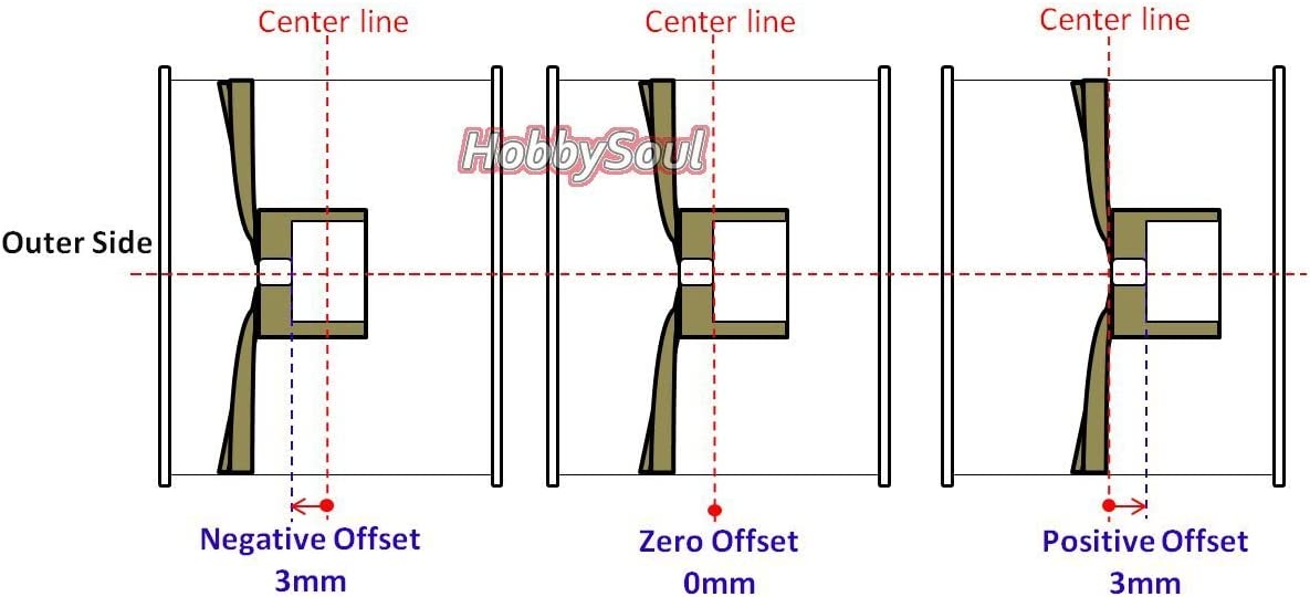 hobbysoul 4PCS1//10 Alloy RC Drift On-Road Wheel Rim Adjustable Offset for Kyosho HPI HSP