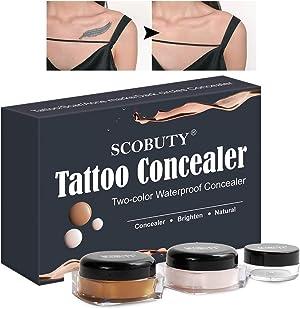 Tattoo Concealer,Waterproof Concealer,Scar Concealer,Concealer Cream,Two Colors Cover Up Make up Concealer Set to brighten skin colour (New packaging)