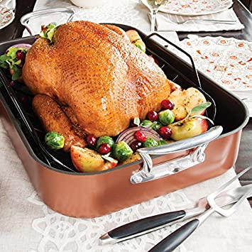 Nordic Ware Turkey Roaster with Rack, Copper