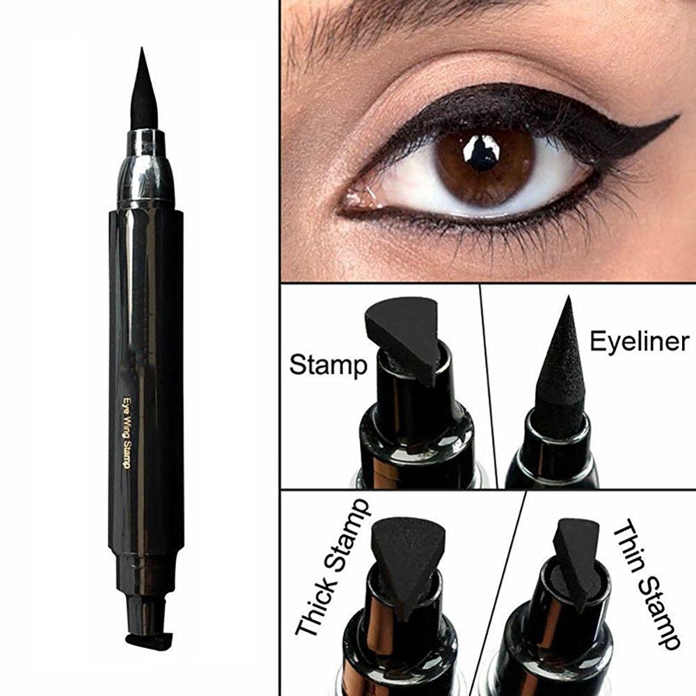 Waterproof Eyeliner Stamp Liquid Eyeliner Pen Easy to Makeup Tool Cat Eye Wing Eyeliner Stamps Set 1 Second Eye Make Up Dual Headed Wing Stamp Eyeliner Pen Pencil by Lemoncy Thick B00000187