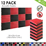 Arrowzoom New 12 Pack of 25 X 25 X 5 cm Black and Red Soundproofing Wedge Acoustic Insulation Wall Foam Padding Studio Foam Tiles AZ1134 (Black & RED)