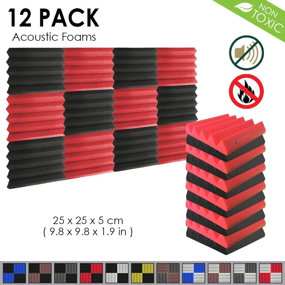 25 X 25 X 5 cm BLACK /& BURGUNDY Arrowzoom New 12 Pieces of Insulation Wedge Acoustic Wall Foam Padding Studio Foam Tiles AZ1134
