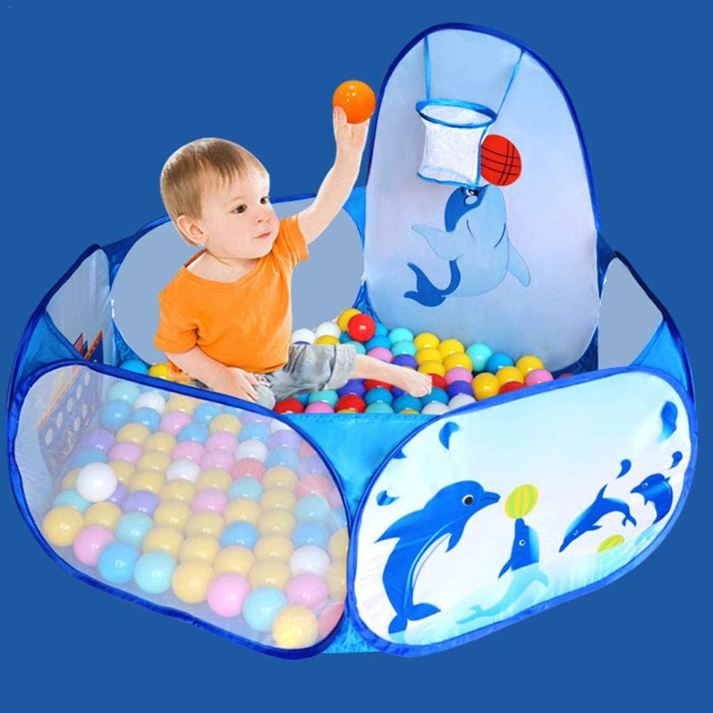 KOXUIUF Baby Ball Pit,Portable Foldable Ball Pit Play Tent with Basketball Hoop Ball Pit Pop Up Playhouse Baby Crawl Playpen for Toddlers Outdoor Indoor Playhouse with Storage bage