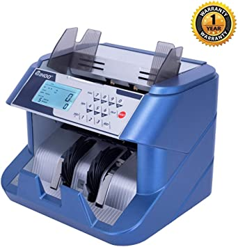 TIHOO Money Counter Machine with Counterfeit Detection UV, MG, IR, DD Bill Counter Front Loading Cash Counting Machine LCD Display Blue