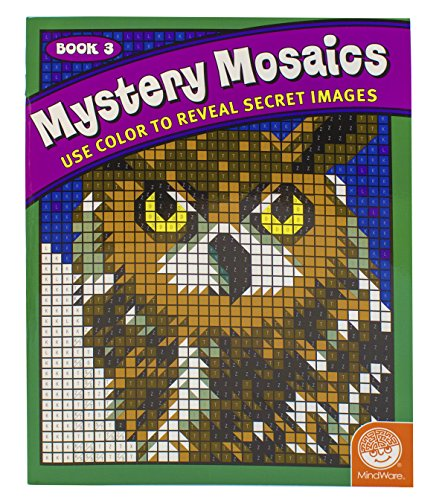 "MindWare – Mystery Mosaics – 18 Unique Puzzles With Up To 12 Color Directions – Teaches Creativity and Fosters Imagination – Includes 10"" x 17"" Fold-Out Designs"
