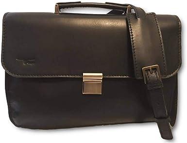 Zawadee Makeba Ebony Black Leather Messenger Bag