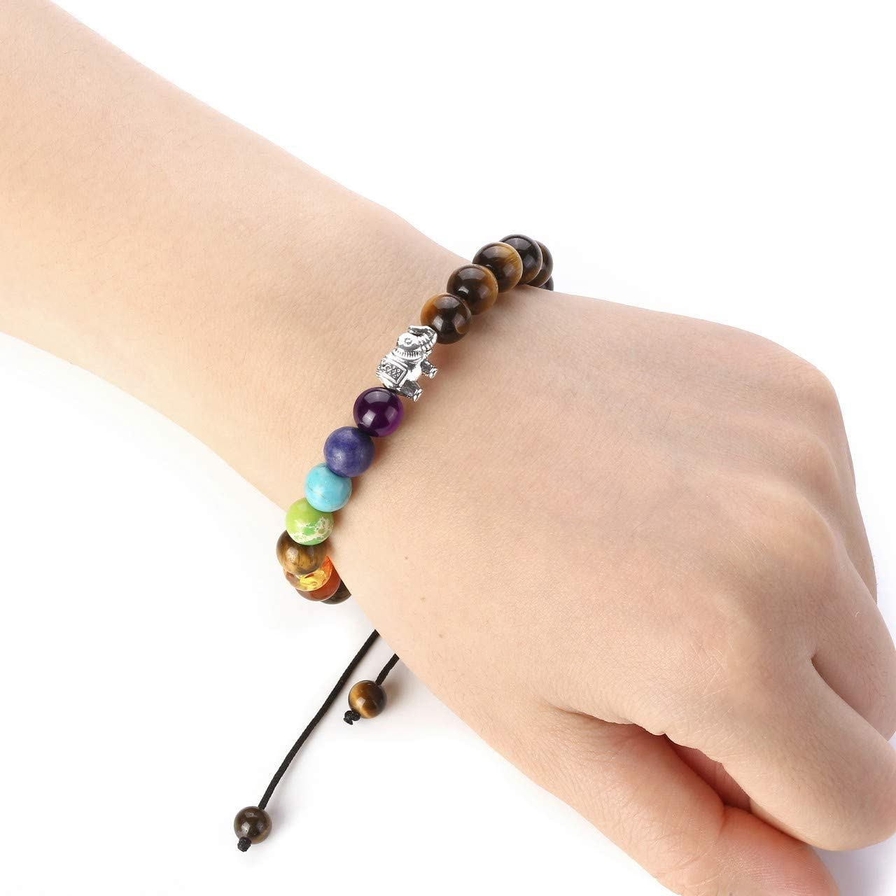 JOVIVI 7 Chakra Amethyst Crystal Bracelet Women Elephant Lucky Charm Purple Gemstone Reiki Healing Balancing Yoga Energy Stone Beads Bracelet