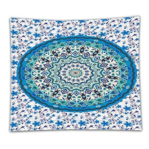 Beshowereb Fleece Throw Blanket Turquoise Boho Yoga Decorations Indian Batik Hippie Mandala Medallion Abstract Geometric Art Prints Po
