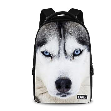 a455c27d3d3 Amazon.com   HUGS IDEA Cool Pet Dog White Husky Travel School Backpack  Animal Head Bookbag   Kids  Backpacks